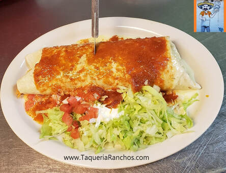 Burrito with Ranchera Sauce at Taqueria Ranchos La Delicias at 1516 Niagara Street in Buffalo New York