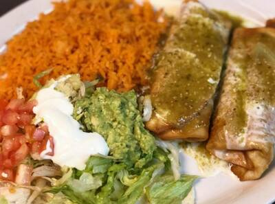 Chimichangas at Taqueria Ranchos La Delicias at 1516 Niagara Street in Buffalo, New York