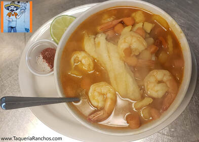 Shrimp and Fish Soup at Taqueria Ranchos La Delicias in Buffalo New York