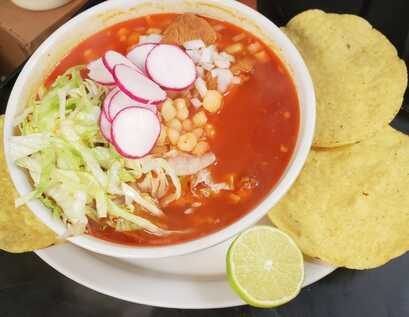 Bowl of Pozole at Taqueria Ranchos La Delicias in Buffalo, New York