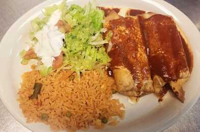 Chimichangas at Taqueria Ranchos La Delicias Mexican Restaurant in Buffalo New York